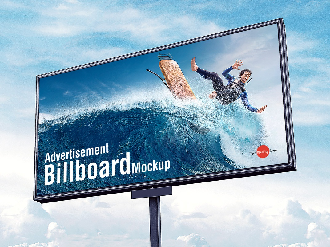 free outdoor advertisement sky billboard mockup psd by free mockup