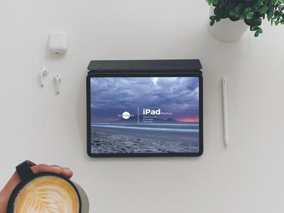 Free Top View Coffee With iPad Mockup