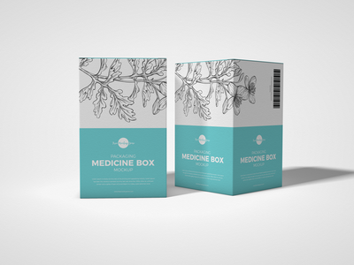 Free Packaging Medicine Box Mockup