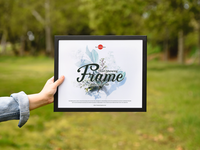 Free Girl Showing Frame Mockup PSD