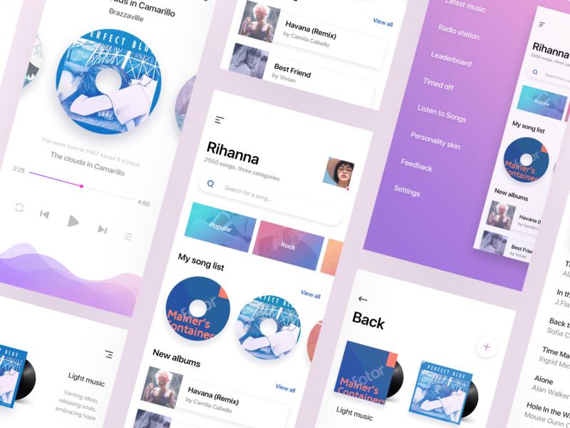 Gradient style music app gradient ui 设计