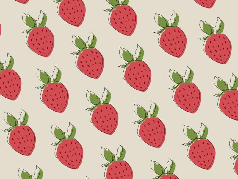 Strawberries Pattern 🍓 illustrations illustrator strawberry illustration art artwork fruit illustration pattern design pattern illustration