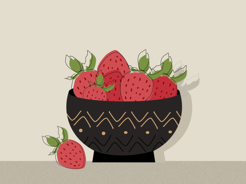 Bowl of Strawberries sketching drawings colors fruits art stilllife illustrator strawberry illustration art fruit illustration artwork illustration