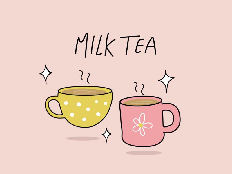 Milk Tea Love minimal stay home line drawing morning selfcare mug tea art colors illustrator drawings artwork illustration art milk tea illustration