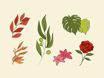 Floral Illustrations 2 botanical illustration line drawings digital illustration floral design rosebud flower illustration rose floral leaves colors art drawings illustration art artwork illustration