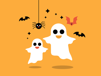 Happy Halloween Ghosts ✨ weeklywarmup flat design vector colors ghosts spooky scary illustrator illustration artwork illustration art dribbbleweeklywarmup halloween party halloween design halloween