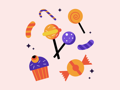 Halloween Treats 🍬🍭🧁 dribbbleweeklywarmup spooky vector illustration halloween design halloween party trick or treat sweets flat illustration weeklywarmup colors illustration art artwork illustration halloween