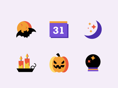 Halloween Icons 🍁✨ candle icon illustraion vector colors art dribbbleweeklywarmup halloween party scary pumpkin icons halloween
