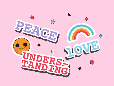 Peace, Love & Understanding 👼 life vector illustration rainbow sticker design design happiness colors stars illustration art artwork badge stickers understanding love peace illustration