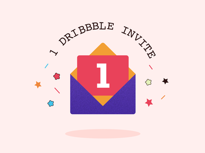 1 Dribbble Invitation dribbble invite giveaway invites giveaway giveaway vector colors invitation invite stars illustration art freebie illustration dribbble invitation dribbble invite