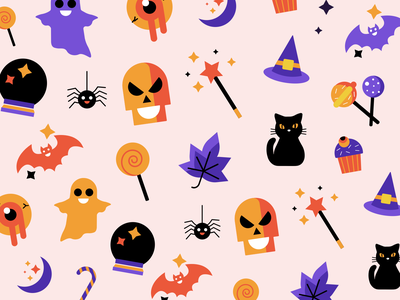 Halloween Pattern 🍭✨ vector illustration colors treats spooky artwork illustration art halloween design halloween party halloween bash ghost trick or treat pattern design halloween illustration