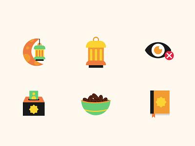 Ramadan Icons 🌙 vector illustrator icon design icon set dates helal fasting islamic islam quran illustration art drawings illustration ramadan mubarak ramadan kareem ramadan