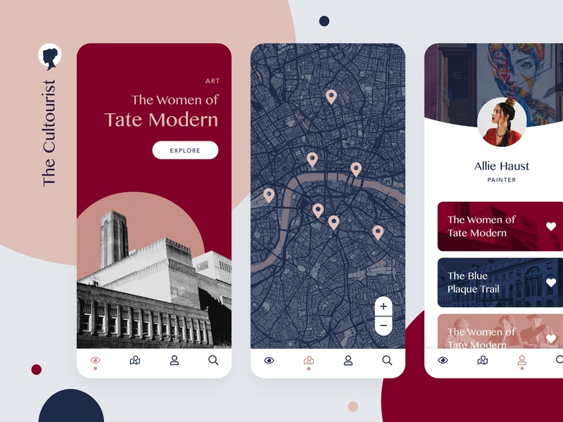 The Cultourist — App ux ui typography travel sketch product design onboarding design colour