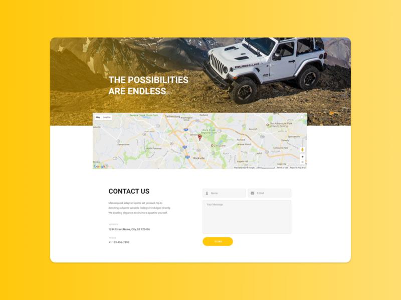 Jeep Wrangler Contact Us contact us automotive adobe xd photoshop web design ui design
