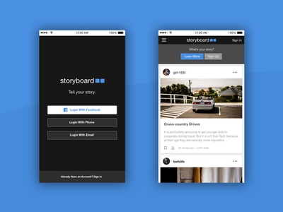 Storyboard product design concept sketch blogging ui design mobile