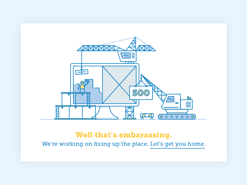 500 Error site construction error 500 illustration