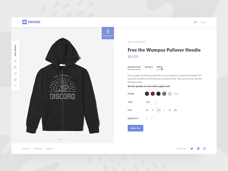 Shop Discord product ui design minimal shopping store merch ecommerce shop