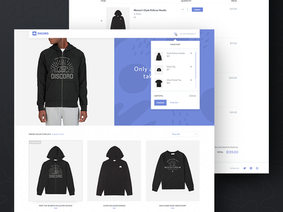 Cart Preview product ui design minimal shopping store merch ecommerce shop