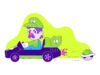 Mario Kart Luigi nintendo mario kart illustration vector games gaming video games luigi