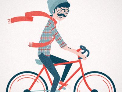 Bike Love illustration glasses bike mustache hipster decal