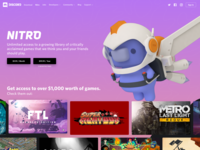 Nitro website games gaming 3d illustration character ux ui web