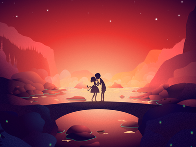 St. Valentine's Day nature environment sketch illustration couple waterfall mountains bridge love valentines day