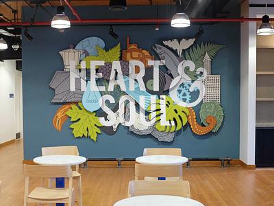 Capital One Seattle - Heart & Soul painter painted handmade muralart muralist type typography illustration lettering installation art installation mural