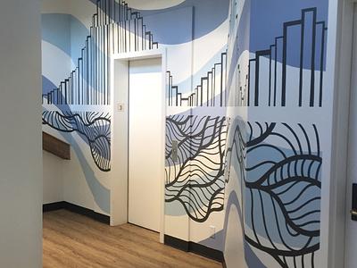 Weaver Architects painter painting organic linework abstract seattle muralist muralart illustration mural