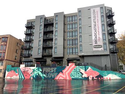 Broadcast Apartments handlettering lettering typography type painter painted illustrationart illustration seattle public art muralist muralart mural