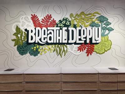 Lululemon - Lynnwood, WA linework handlettering typography type lettering abstract organic illustration art illustration seattle installation art installation muralart muralist mural