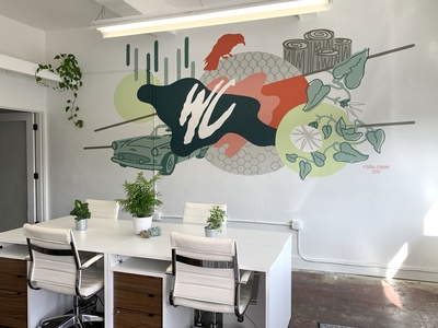 White Center Coworking painted painter geometric art abstract illustrator illustration muralart muralist mural