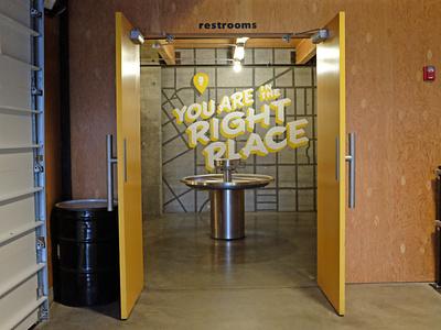 Optimism Brewing - Restroom seattle handlettering lettering typography type brewery muralart muralist mural