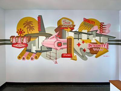 Repair Revolution west coast mid century mid century modern illustration installation painting mural muralist