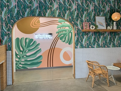 Atulea interior design abstract geometric tropical illustration mural muralist