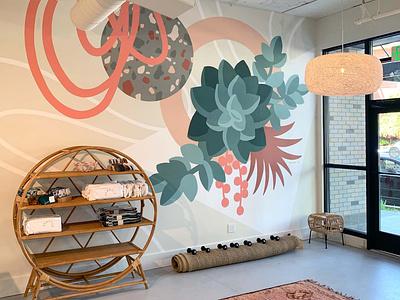 Pilates Hub 1/2 interior design painting color botanical floral illustration seattle muralist mural