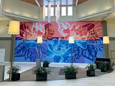 Marketplace at Factoria linework design geometric botanical floral interior design painting muralist mural