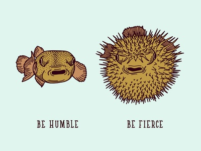 Words to live by mantra fish pufferfish blowfish hand drawn handdrawn illustration