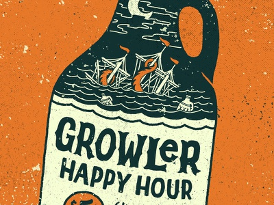 Growler Happy Hour brewery growler typography type handlettering lettering illustration
