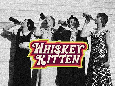 Whiskey Kitten retro logotype logo design branding graphicdesign