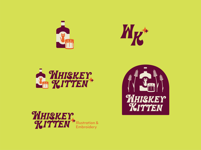 Whiskey Kitten typography retro logotype branding logo design illustration graphicdesign