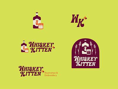 Whiskey Kitten typography retro logotype branding logo design illustration graphicdesign