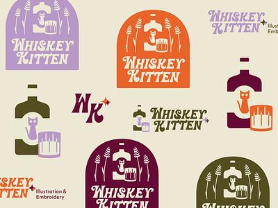 Whiskey Kitten design typography retro logotype logo branding illustration graphicdesign
