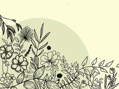 Botanical Line Drawing - Composition #1 flowers illustration plants line drawing botanical illustration illustration