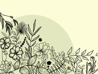Botanical Line Drawing - Composition #1