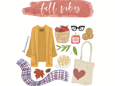 Fall Feeling design fall icons illustration watercolor calligraphy autumn