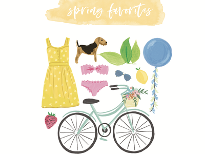 Spring Feels calligraphy icons watercolor illustration spring