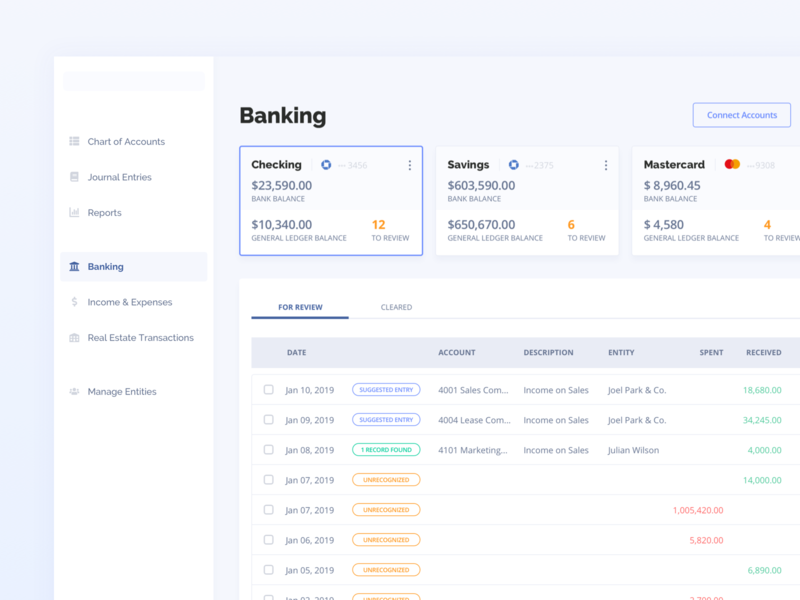 Dashboard - Banking Management debit credit journal account management manage expenses income card color pallete bank app chase bank of america reconcile saas dashboard banking bank