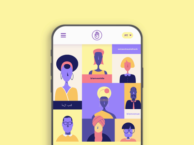 Mano Amiga - Empowering Refugees landing page menu hand white clean responsive purple immigrants refugees empower work yellow mobile animation illustration color pallete