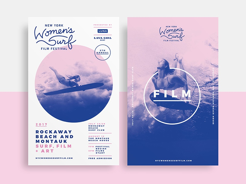 New York Women's Surf Film Festival photoshop poster event festival film surf ocean blue pink design identity branding