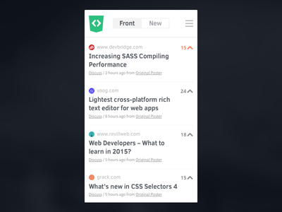 Front-end Front Mobile css3 html5 frontend front-end mobile website responsive clean list news feed vote
